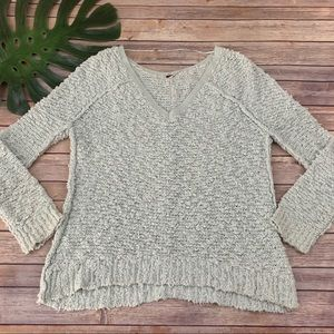 Free People green songbird boucle knit sweater